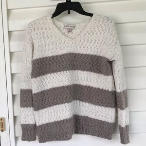 3 for $15 White and Gray Striped Sweater
